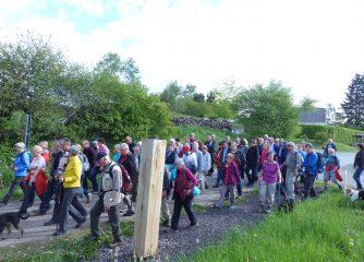 Große Wandergruppe wandert durch die Vulkaneifel